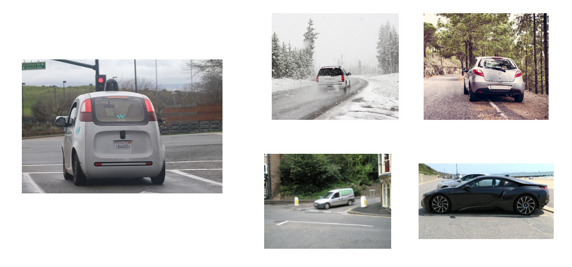 Variety of images of a car in different scenarios.